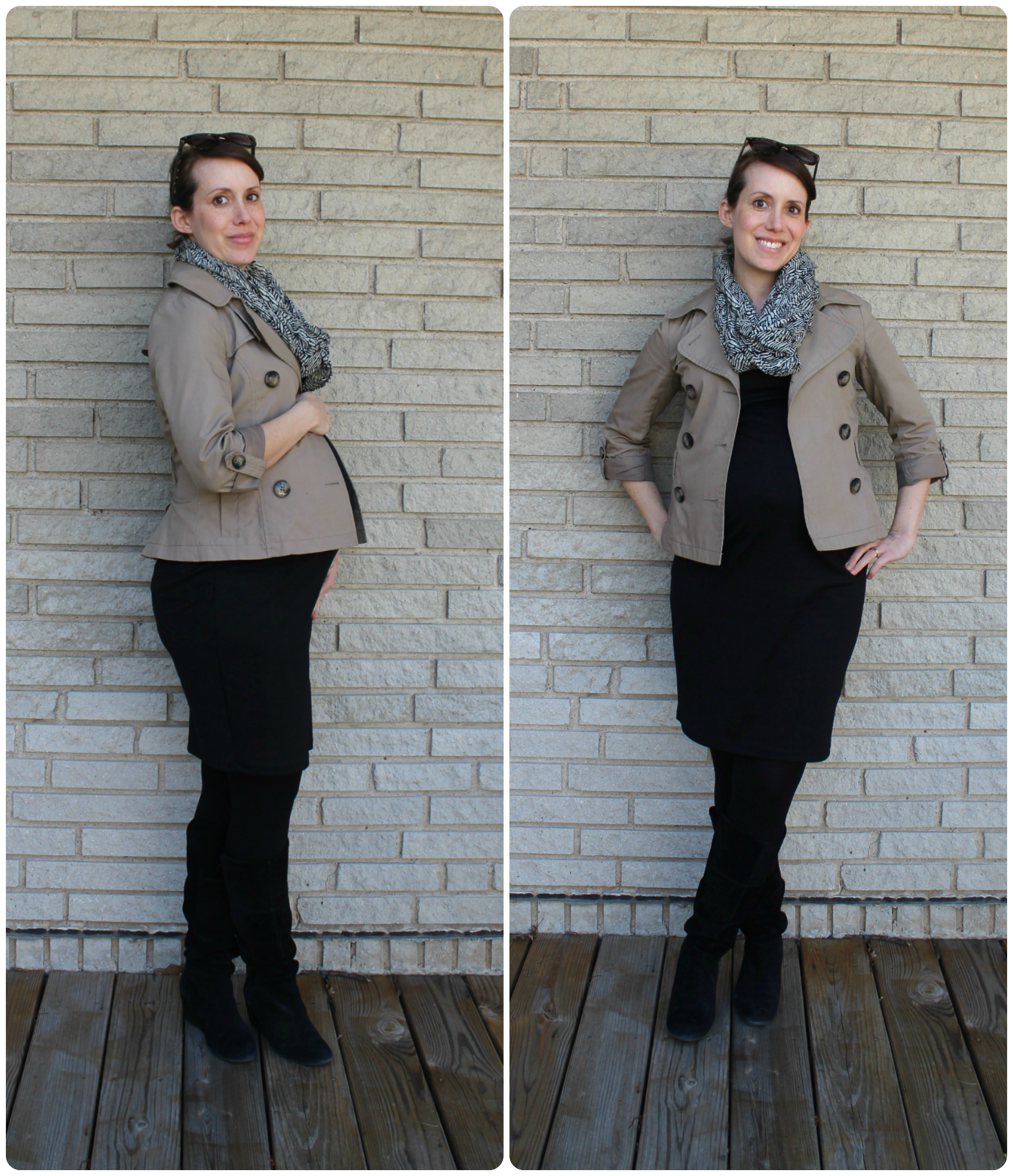 pregnant maternity trench coat mindful closet