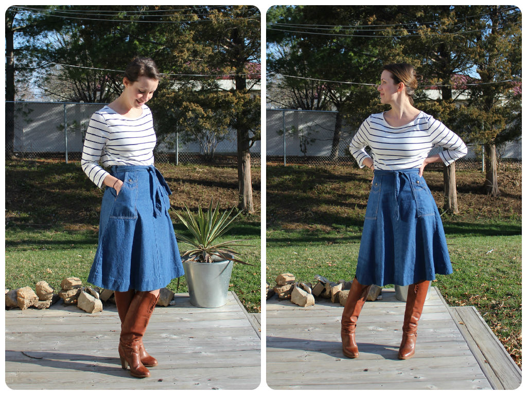 mindful closet blog - spring vintage denim skirt