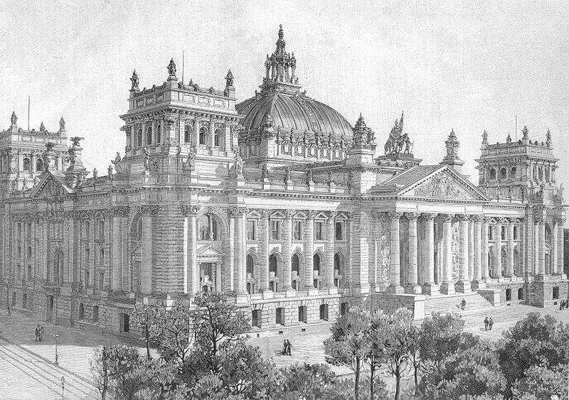 A sketch of the original Reichstag building.