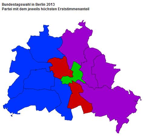 CDU is blue; SPD is red; Green is...green; Die Linke is Purple