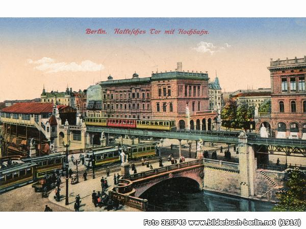 Notice the pink building in the middle of the illustration. In the foreground is the U-Bahn station.  Source .