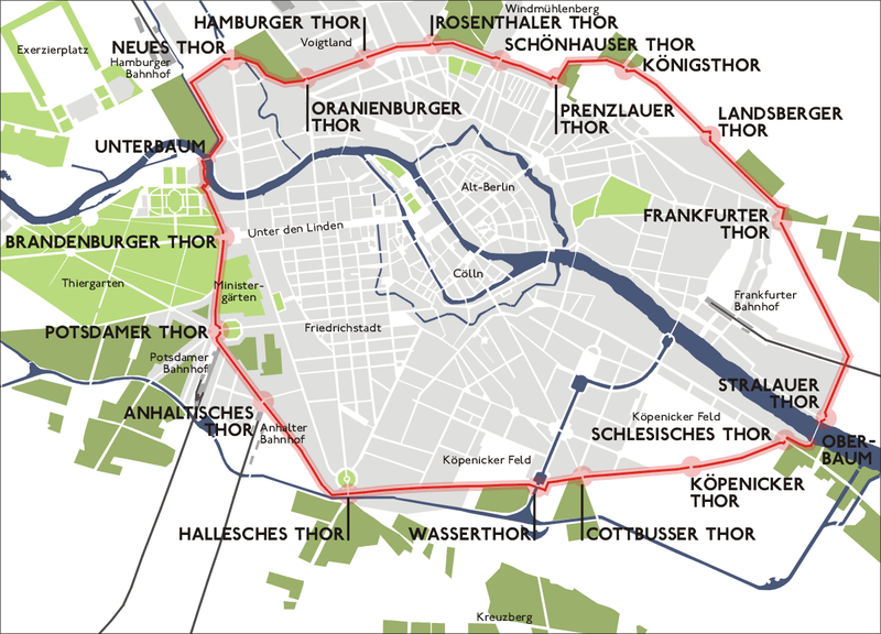 The plan of the original Berlin Customs Wall. Impressive, but not as long as the 20th century Berlin Wall. Source:  Wikipedia Commons.