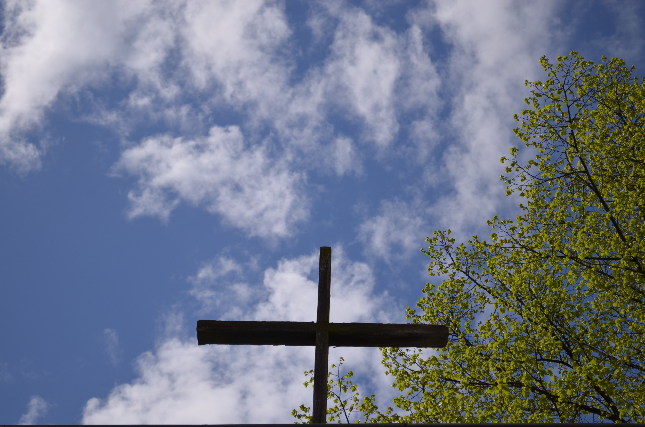 A cross above the entryway.