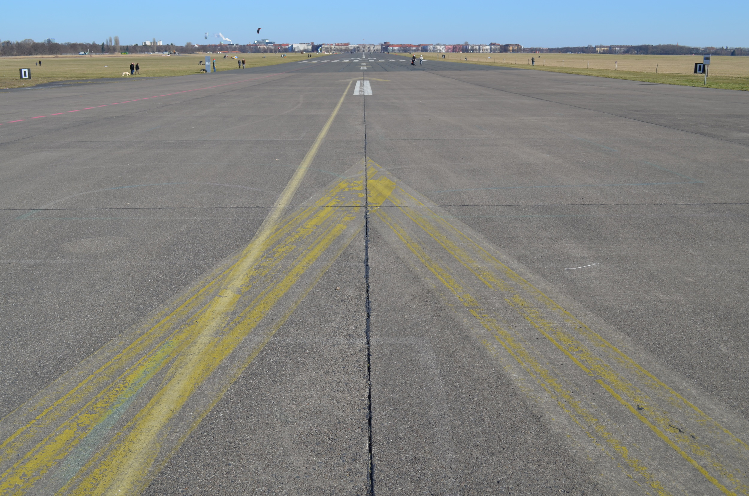 One of the runways at Tempelhofer Feld. When it was constructed, it was considered one of the most beautiful airports in the world.