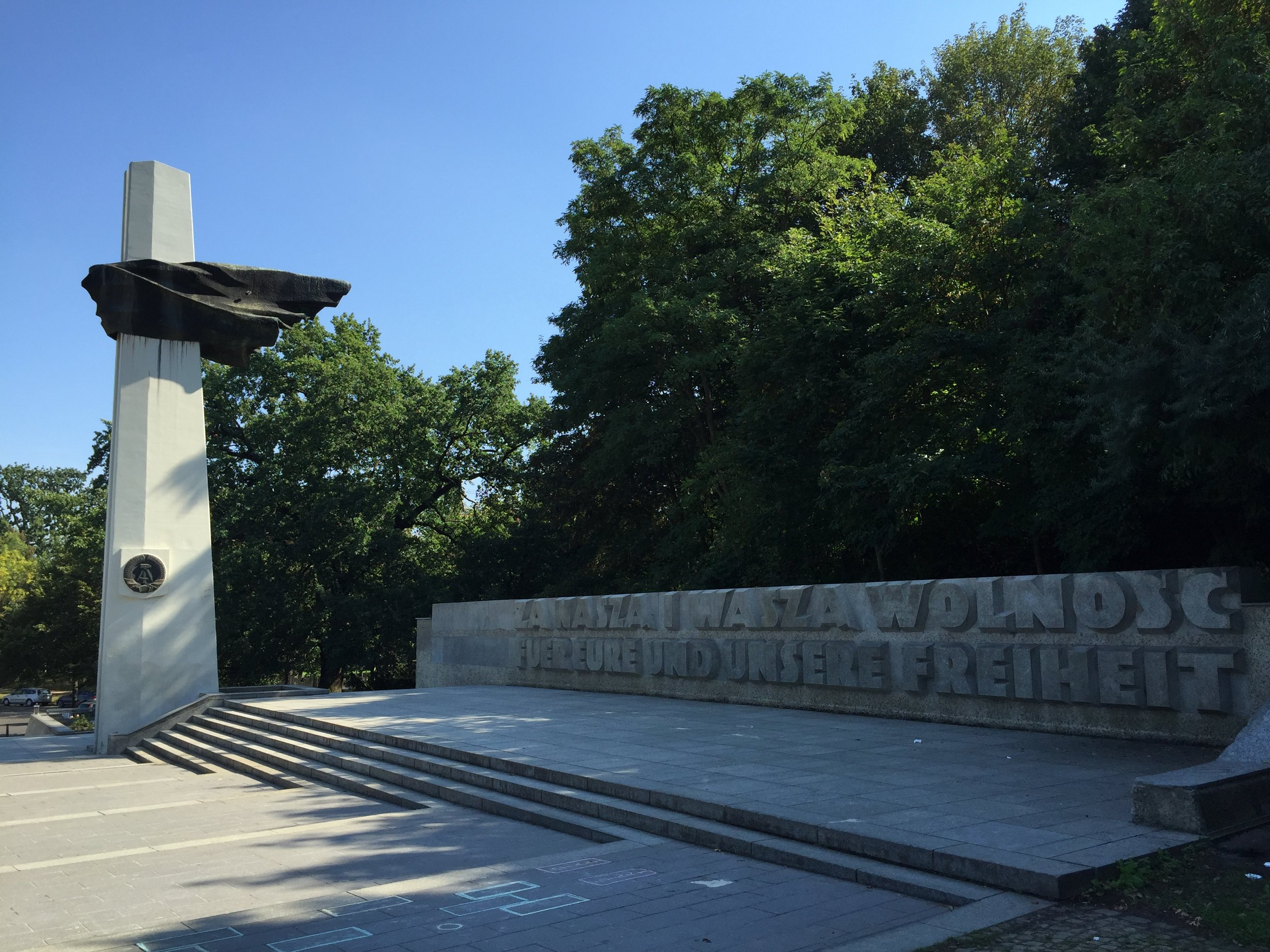 For Your Freedom and Ours: Inscription on the Memorial to Polish Soldiers and German Anti-Fascists in Volkspark Friedrichshain in Berlin.