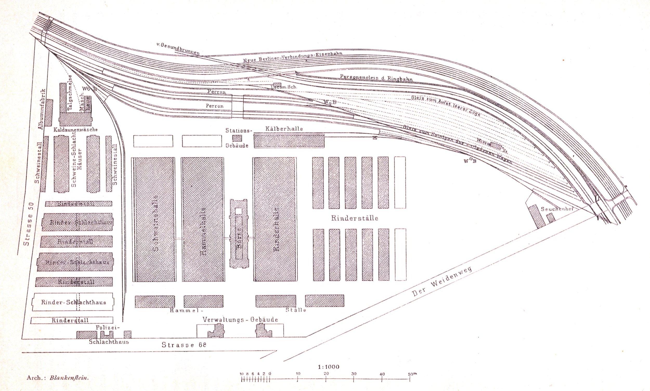 """The layout of the original slaughterhouse. """"Der Weidenweg"""" is now called. Eldenaerstr.  Source ."""