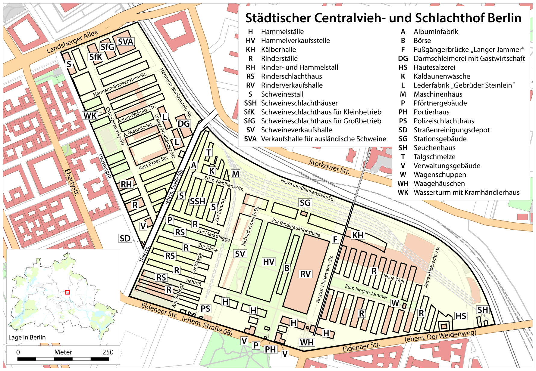 A map of the facility at its peak (sorry for the German).  Source.