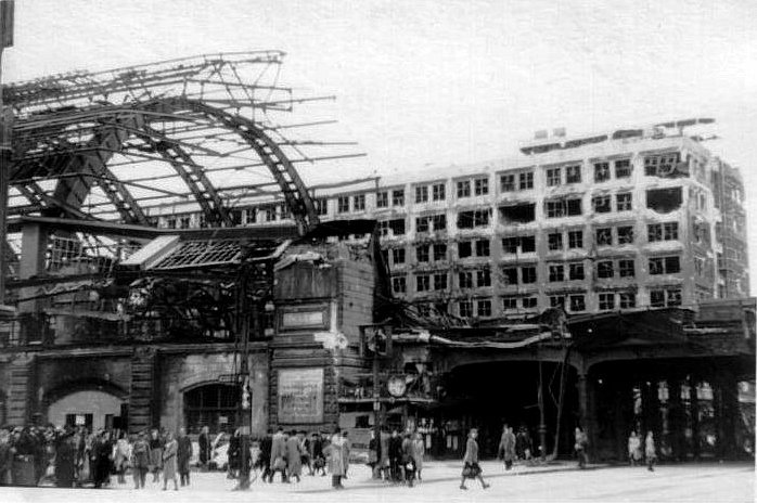 Alexanderplatz train station in 1945. Franz Biberkopf spent a lot of time around here. What happened to him? What happened to the real people who were just like him? Photo credit:  creative commons.