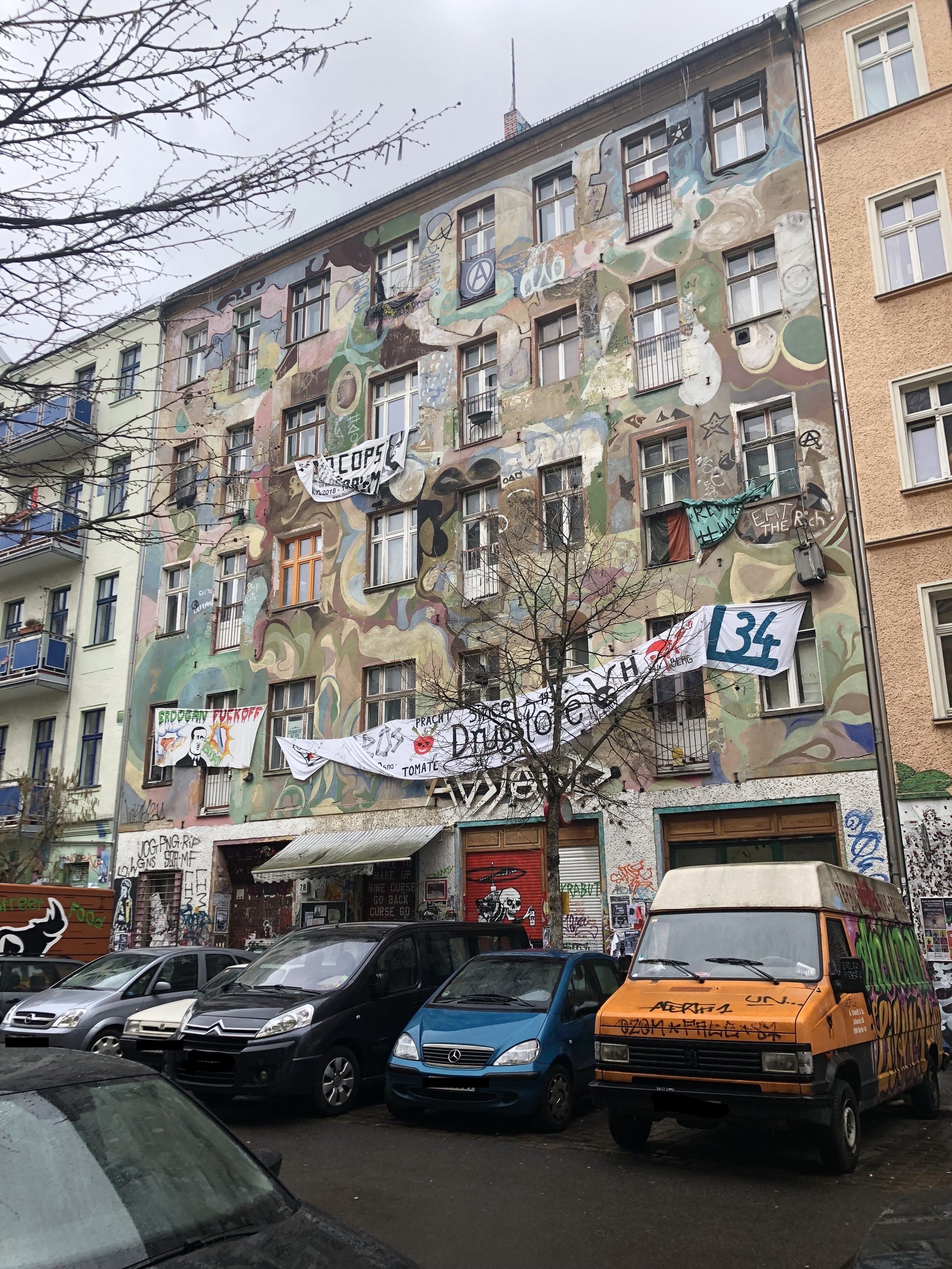 Another squatted house on Rigaer Straße. There's a bar downstairs, and  a website explaining  the project.