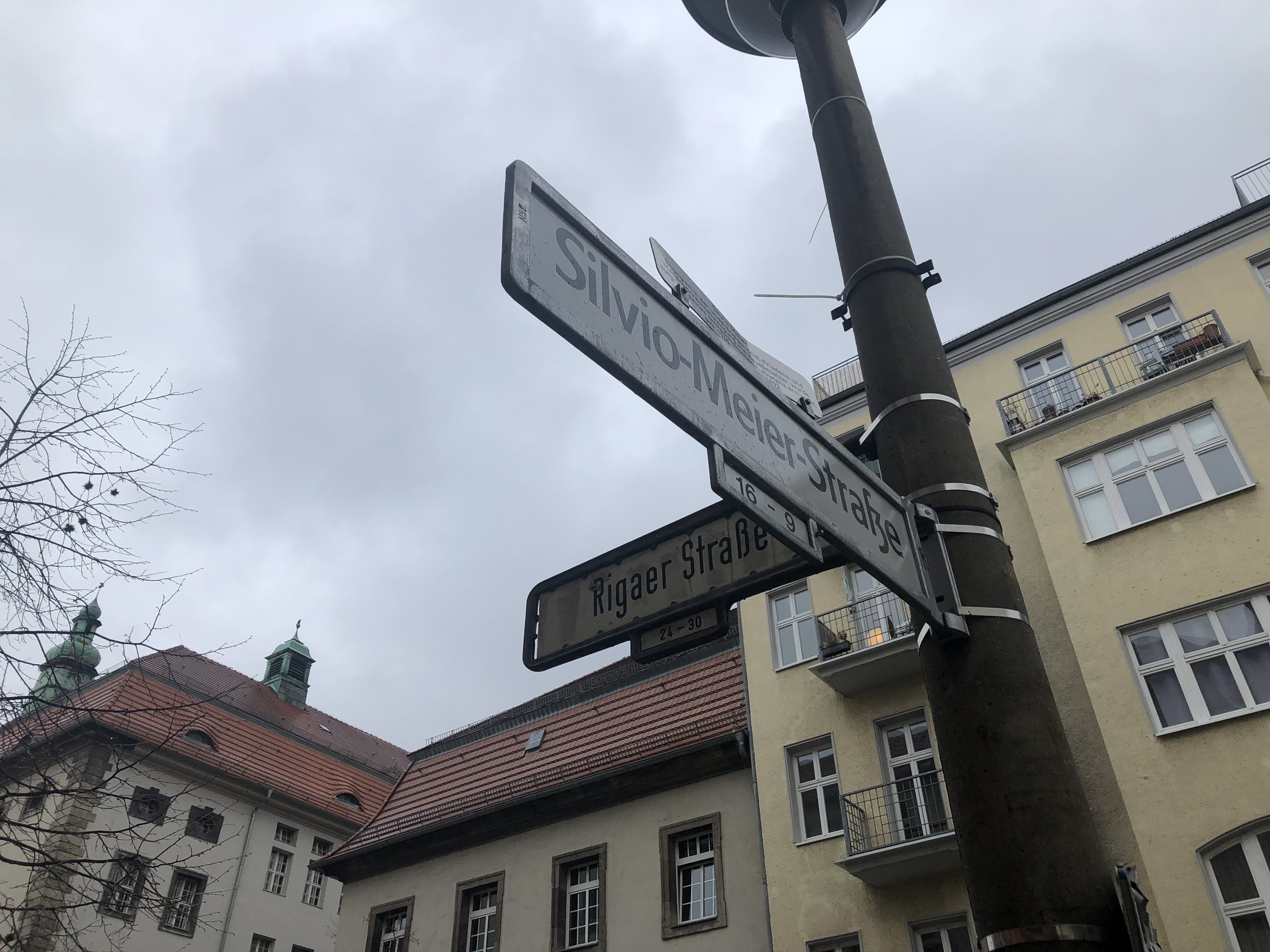 Intersection of Rigaer Straße and Silvio Meier Straße. Silvio Meier was a leftist activist who was murdered by Neo-Nazis in 1992.
