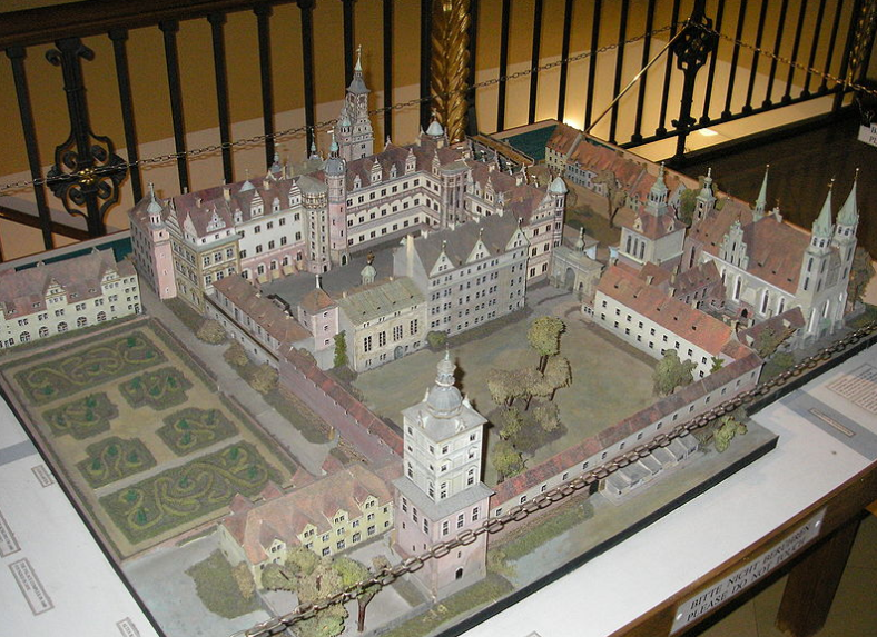 A model of the Berlin Palace as it looked in the 16th century. The Spree runs from left-to-right along the top of this model. Photo credit:  Creative Commons.