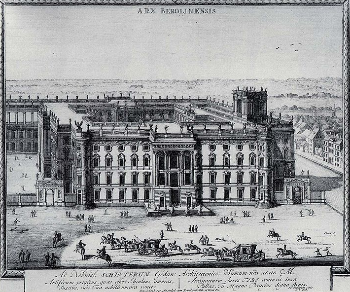 The Berlin in Palace in a drawing from the year 1702. At this point, the Palace had begun morphing into a Baroque-style building. Photo credit:  Creative Commons.
