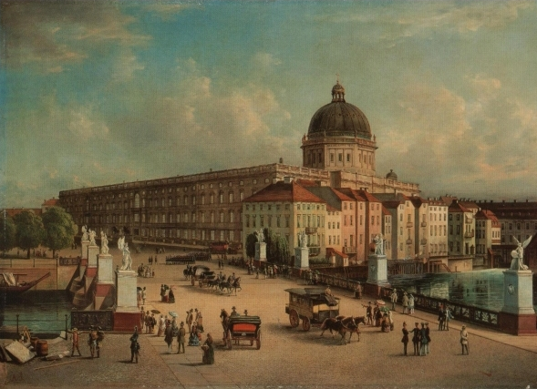 The Berliner Schloss in 1853, with the newly completed dome. The dome is on the west side of the building, meaning that if you're walking along the street in the foreground, you're walking along Unter den Linden from West to East. Photo credit:  Creative Commons.