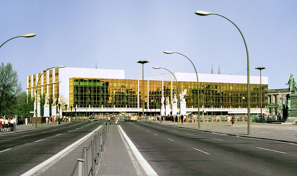 The Palace of the Republic, a showpiece building of the DDR. Construction was completed in 1976. Photo credit:  Creative Commons.