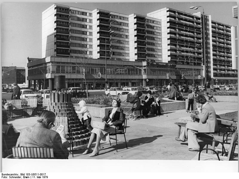 An archival image of what appears to be the buildings on the north side of Leipziger Straße. The entire complex was supposed to reflect the socialist ideal of planned living/shopping/relaxing space. Photo credit:  creative commons.