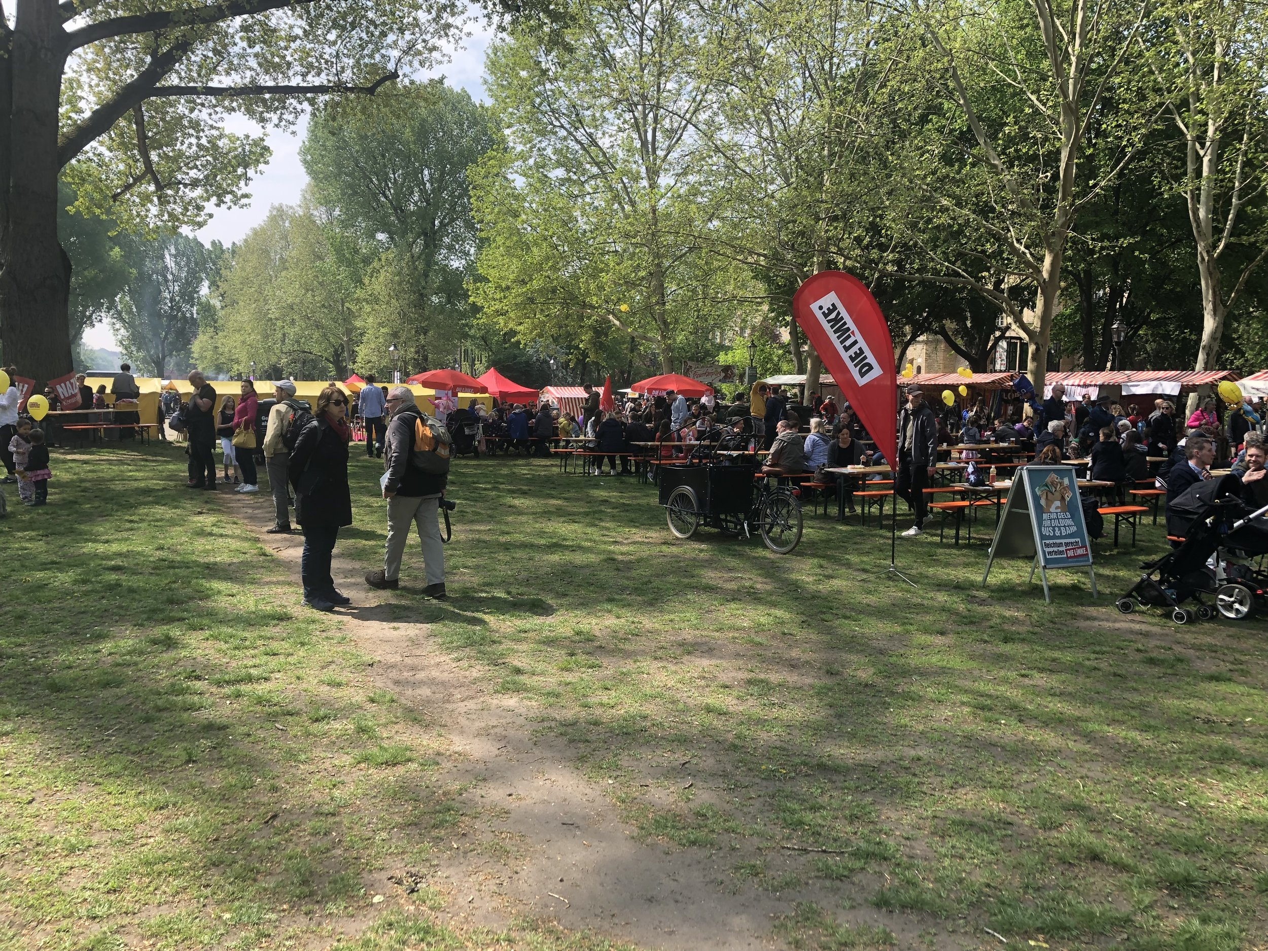 The 2019 MyFest in Kreuzberg. Picnic benches, families, and a few political pamphlets on Mariannenplatz.