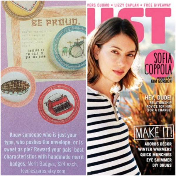 Badges in the Dec/Jan 2011 issue of Bust Magazine