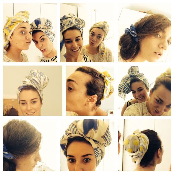 Aliya and I experimenting with the head scarves in prep for the photo shoot on the 13th June