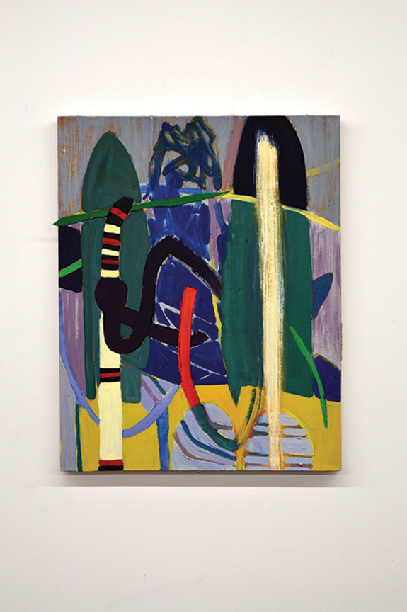 "Shrub Wall, 2017, Oil on linen, felt, 26 1/2"" x 23"""