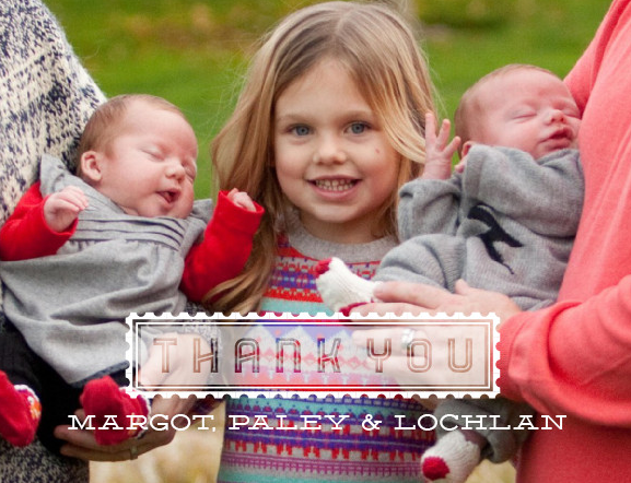 We used a photo from the holiday portrait session for the thank you card.