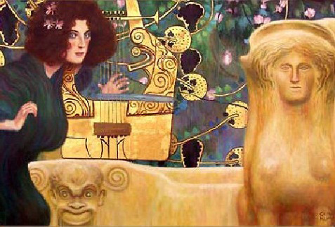 """Gustav Klimt's """"Musik II"""" sadly still lost and possibly destroyed by the Nazi's."""