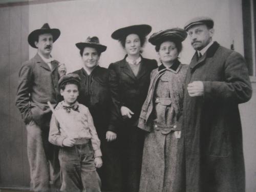 (left to right)) Leo Stein, Abraham Stein (nephew), Gertrude, Thelma, Sarah and husband Michael Stein.
