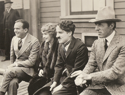 Fairbanks, Pickford, Charlie Chaplin & D.W. Griffiths at one of the early United Artists