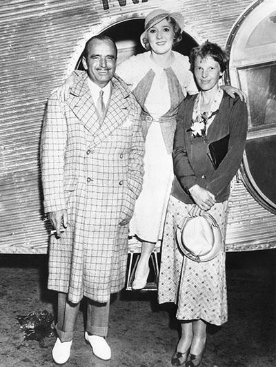 Fairbanks, Pickford andAmelia Earhart after flight across the U.S.