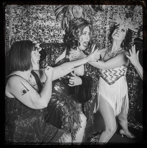One of my favorite shots from the night....my friend Nancy fighting with some of performers, the Chanteuse Wiggy Darlington and the Burlesque dancer Sid Scenic