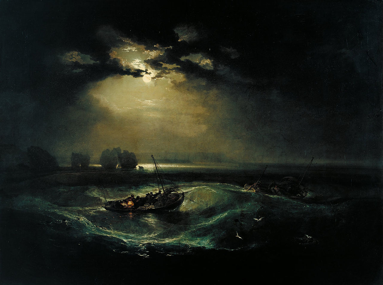 J.W.A. Turner Firsherman at Sea - This piece was Turner's first piece entered into the Royal Academy Salon.