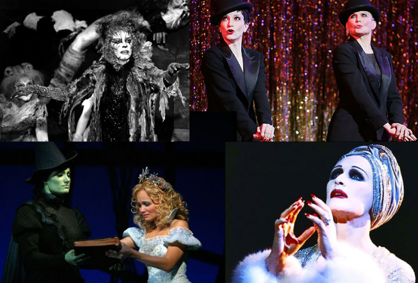 (Clockwise from top left) Betty Buckley in  CATS,  Bebe Buewirth & Ann Reinking in  CHICAGO , Glenn Close in  SUNSET BOULEVARD , Kristin Chenoweth & Idina Menzel in  WICKED
