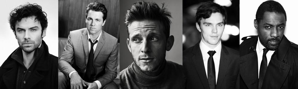 (l to r) Aidan Turner,Julian Ovenden, Jamie Bell, Nicholas Hoult, Idris Elba