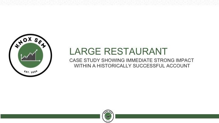 large restaurant SEM client | nate knox client list
