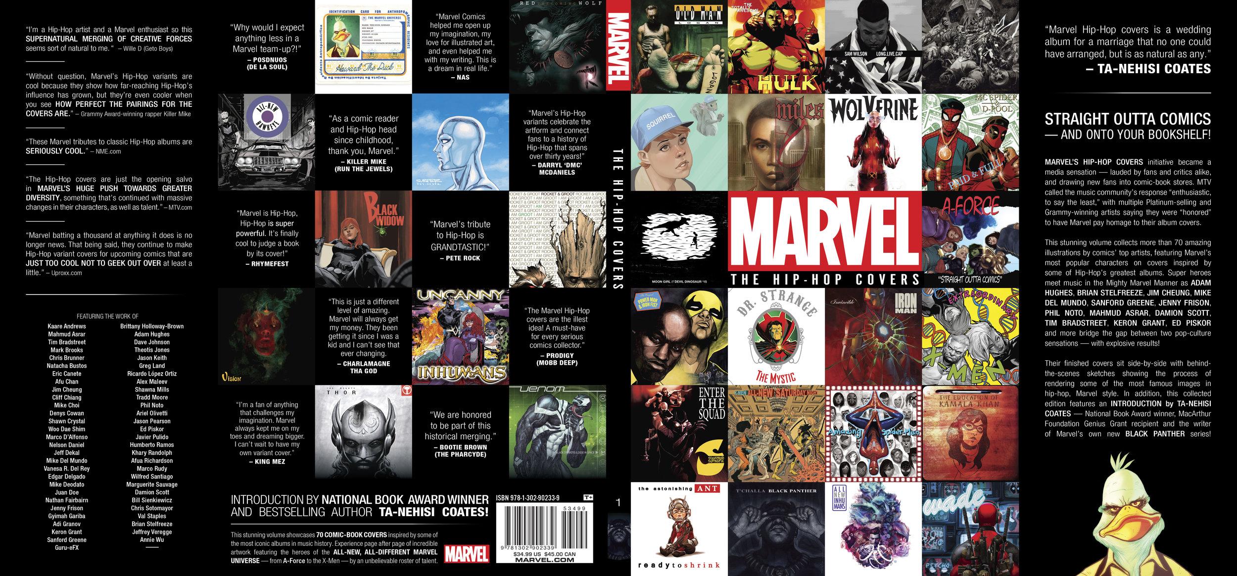 Dust jacket design for  Mavel: The Hip-Hop Covers Vol. 1 . Content copyright Marvel Entertainment, 2016.