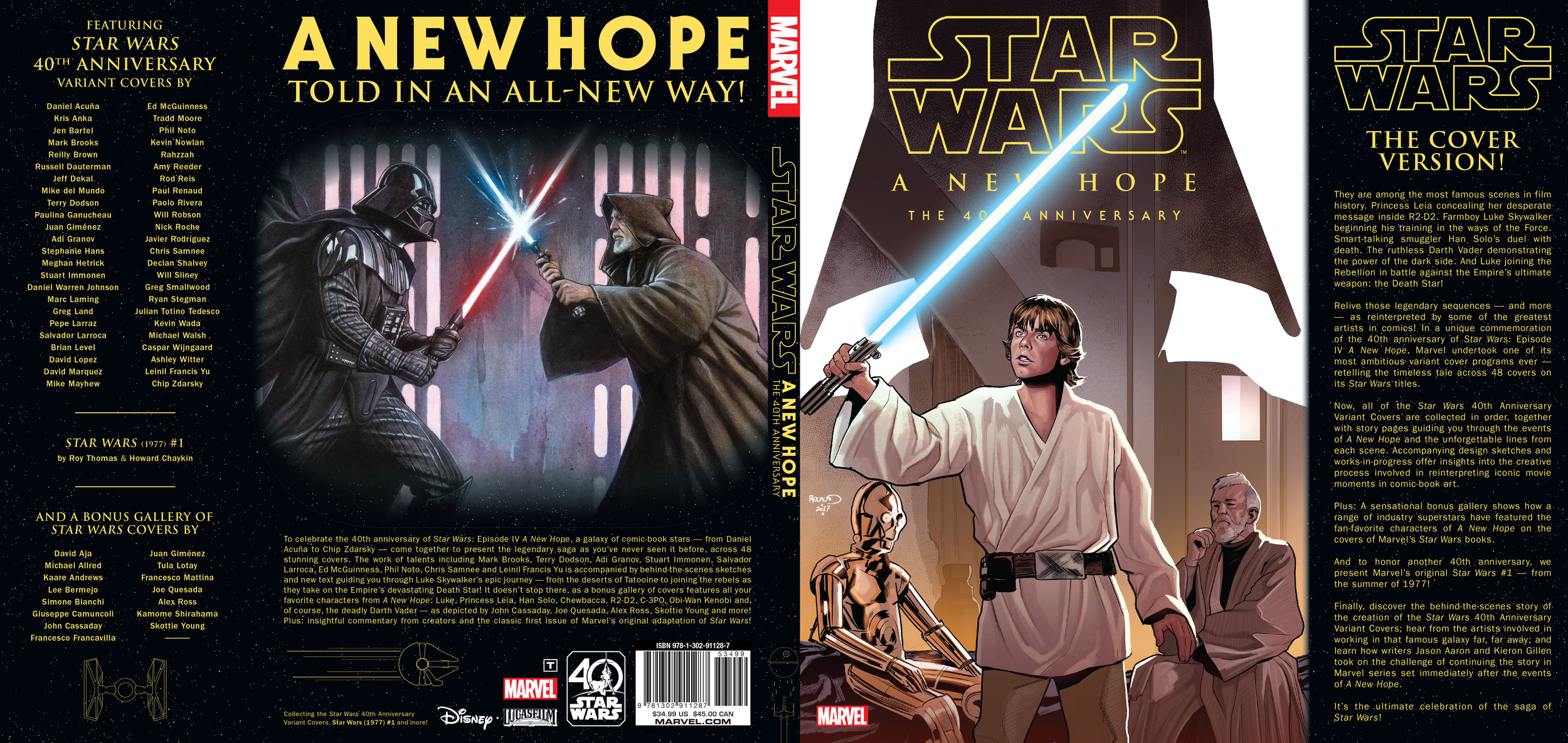 Dust jacket design for  Star Wars: A New Hope - The 40th Anniversary  . Content copyright Marvel Entertainment, 2018.