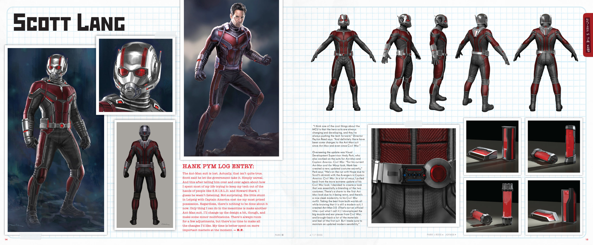 Design and layout for  The Art of Marvel Studio's Ant-Man and The Wasp . Content copyright Marvel Entertainment, 2019.