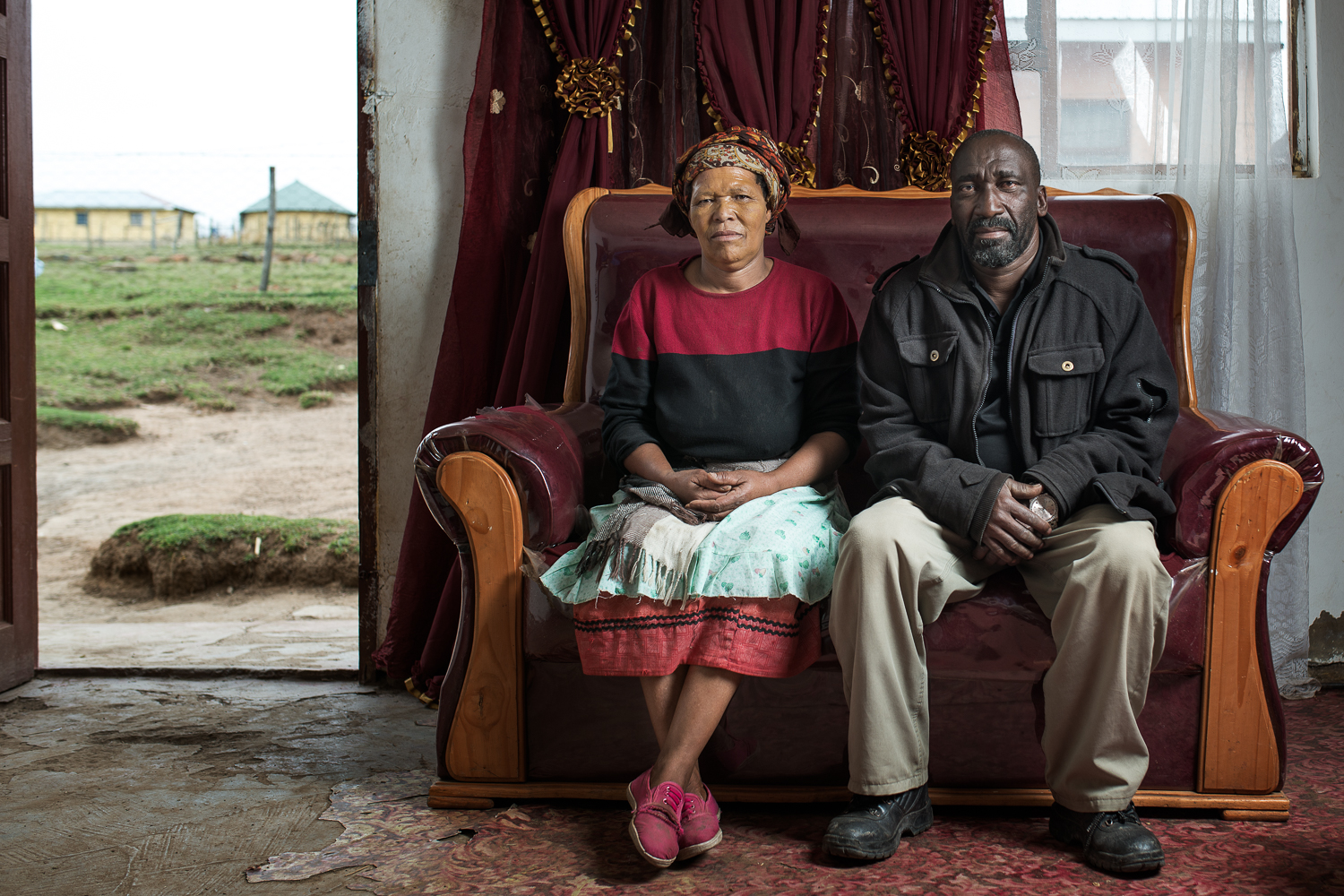 Zolisa Jejana , 56, was diagnosed with Pulmonary tuberculosis after he had left his job on the gold mines. He was retrenched in 1989 due to his participation in a three-day strike where 59 miners stayed underground for three days. At the time they were earning R1000 a month (approx. £50) and were demanding a wage increase. All 59 miners were retrenched. Mr Jejana received no compensation for his illness and now tries to pick up casual work as a bricklayer. With the small amount of work he can get he needs to support his wife and 6 children.