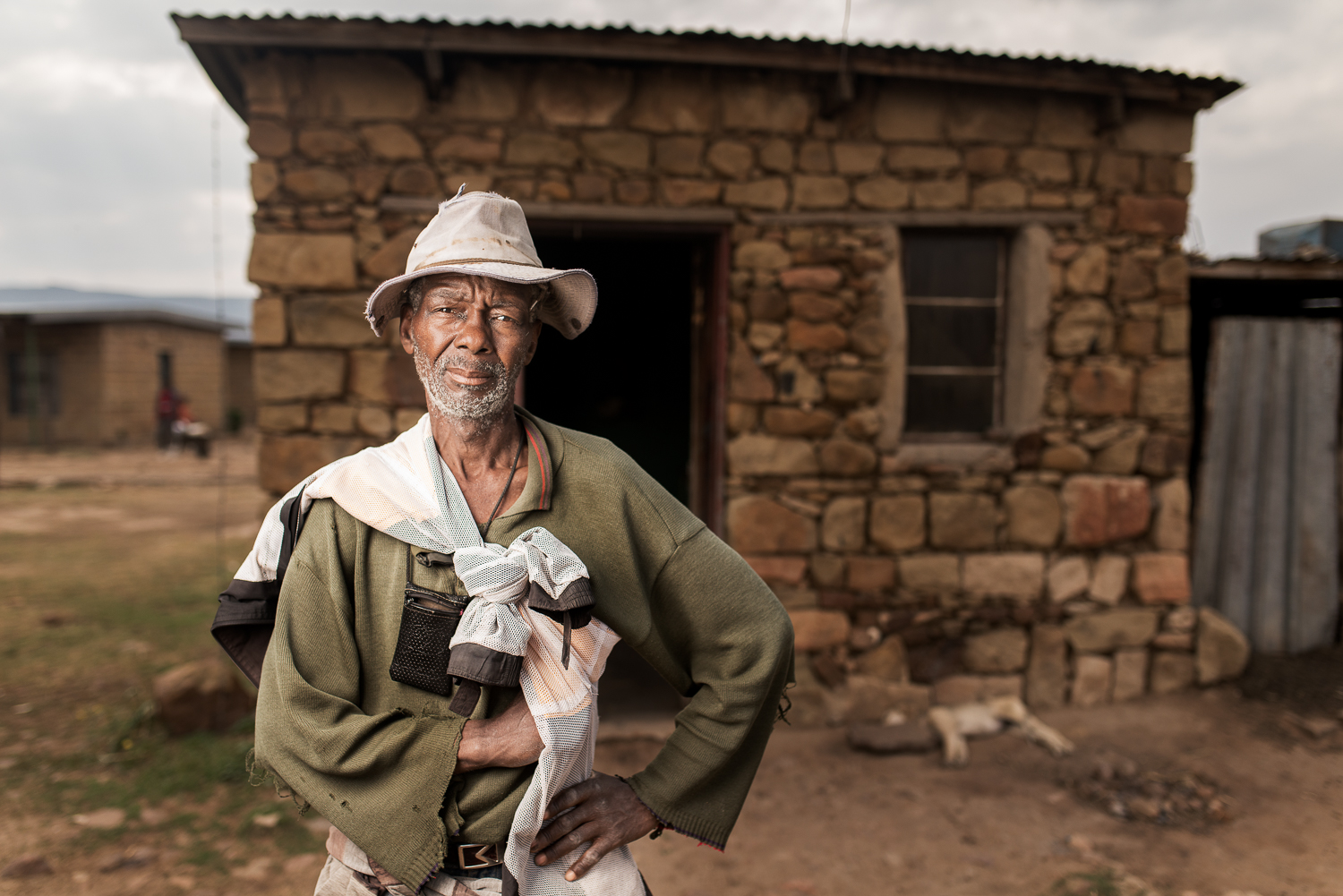 Joseph Lebone  started working in the gold mines in 1972 when he was 21 years old. He worked for 33 years until he was diagnosed with silicosis at the mine hospital. He was compensated R40 000 and only sent home when he developed tuberculosis. He started working there because he saw others who were managing to find jobs and provide for their families. Now he has to survive off the land. He grows vegetables, maize and wheat.