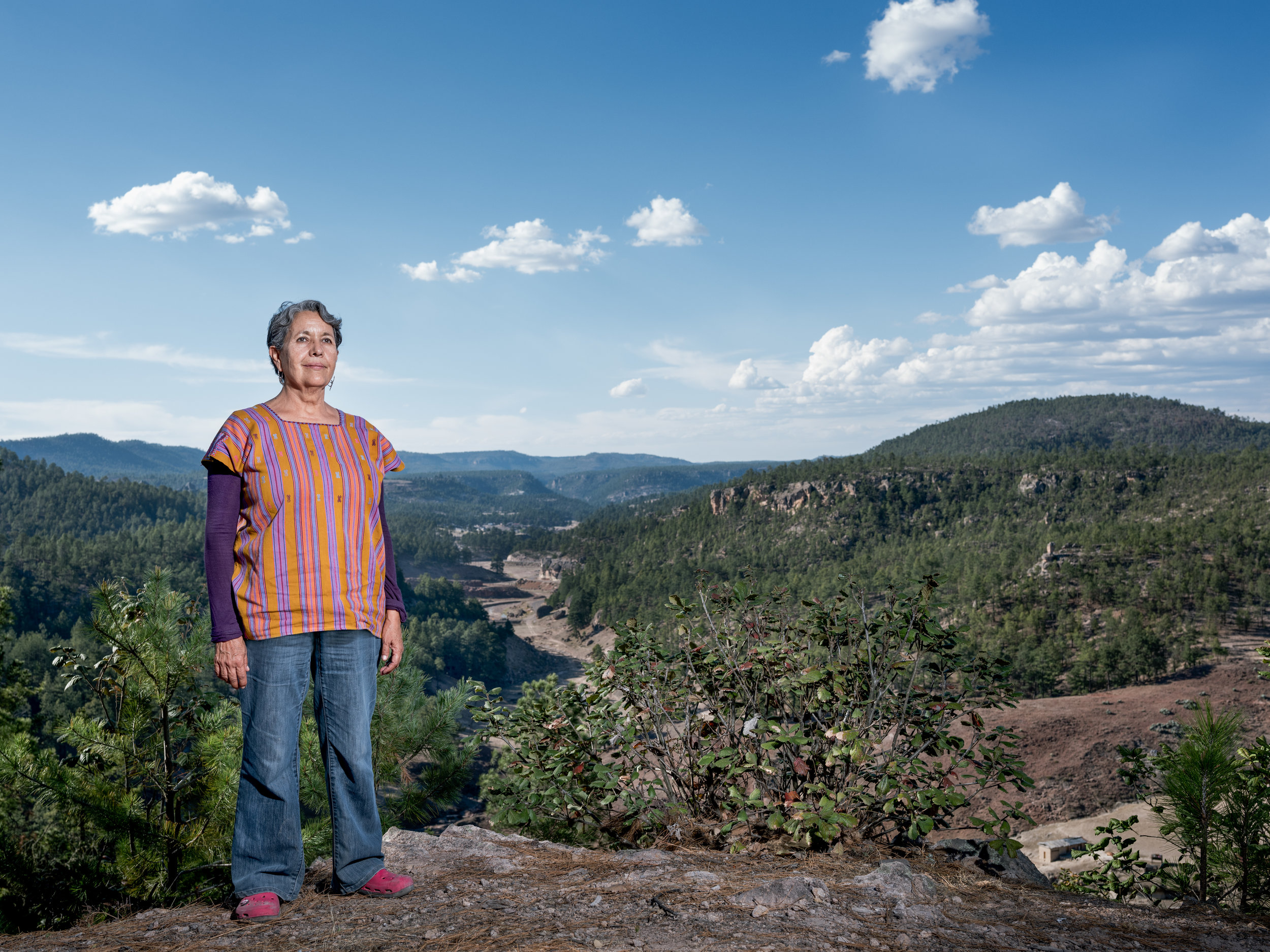 Isela González in front of the pine forests of the Sierra Madre