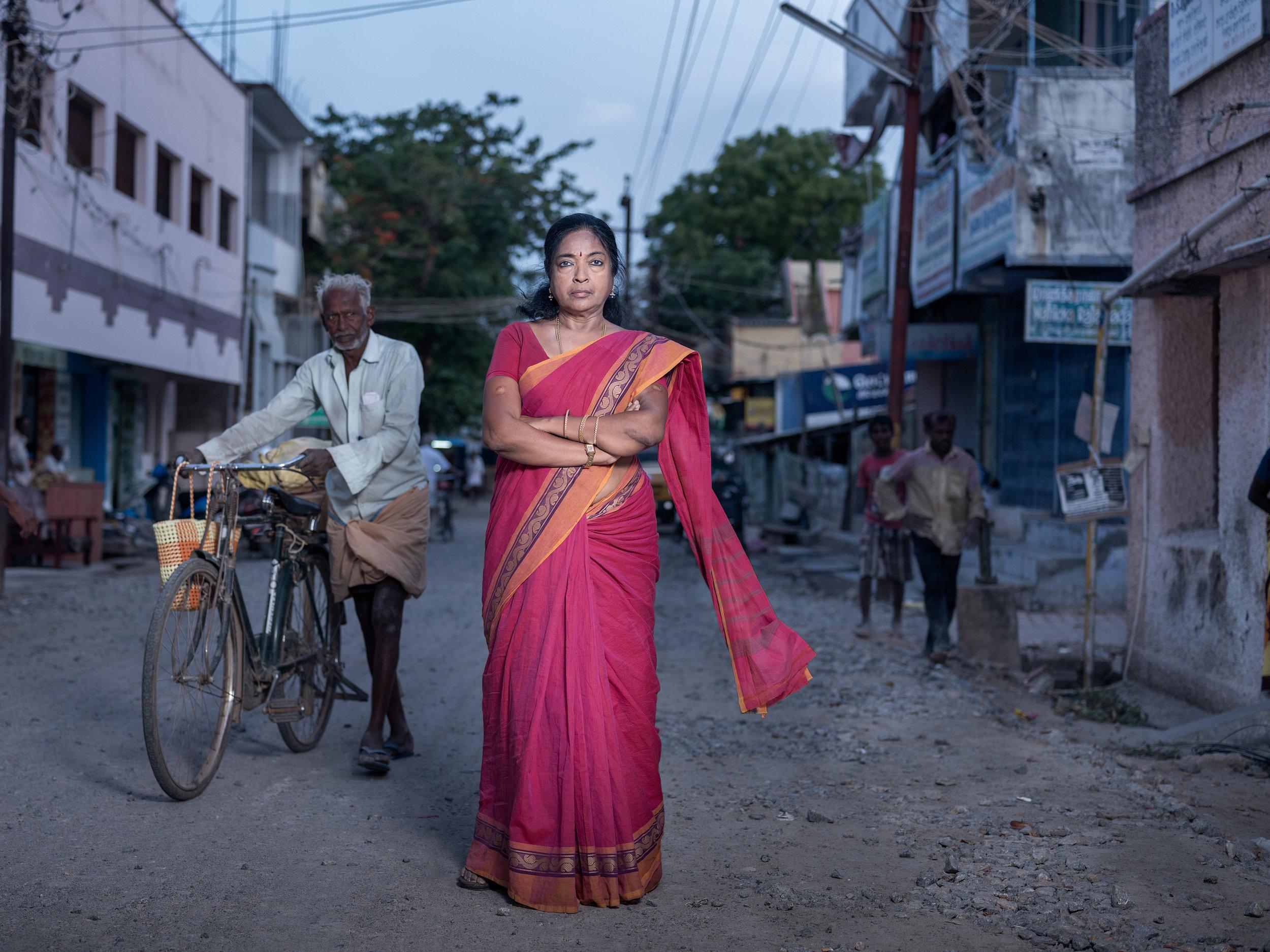 Fatima Babu in the streets of Tuticorin
