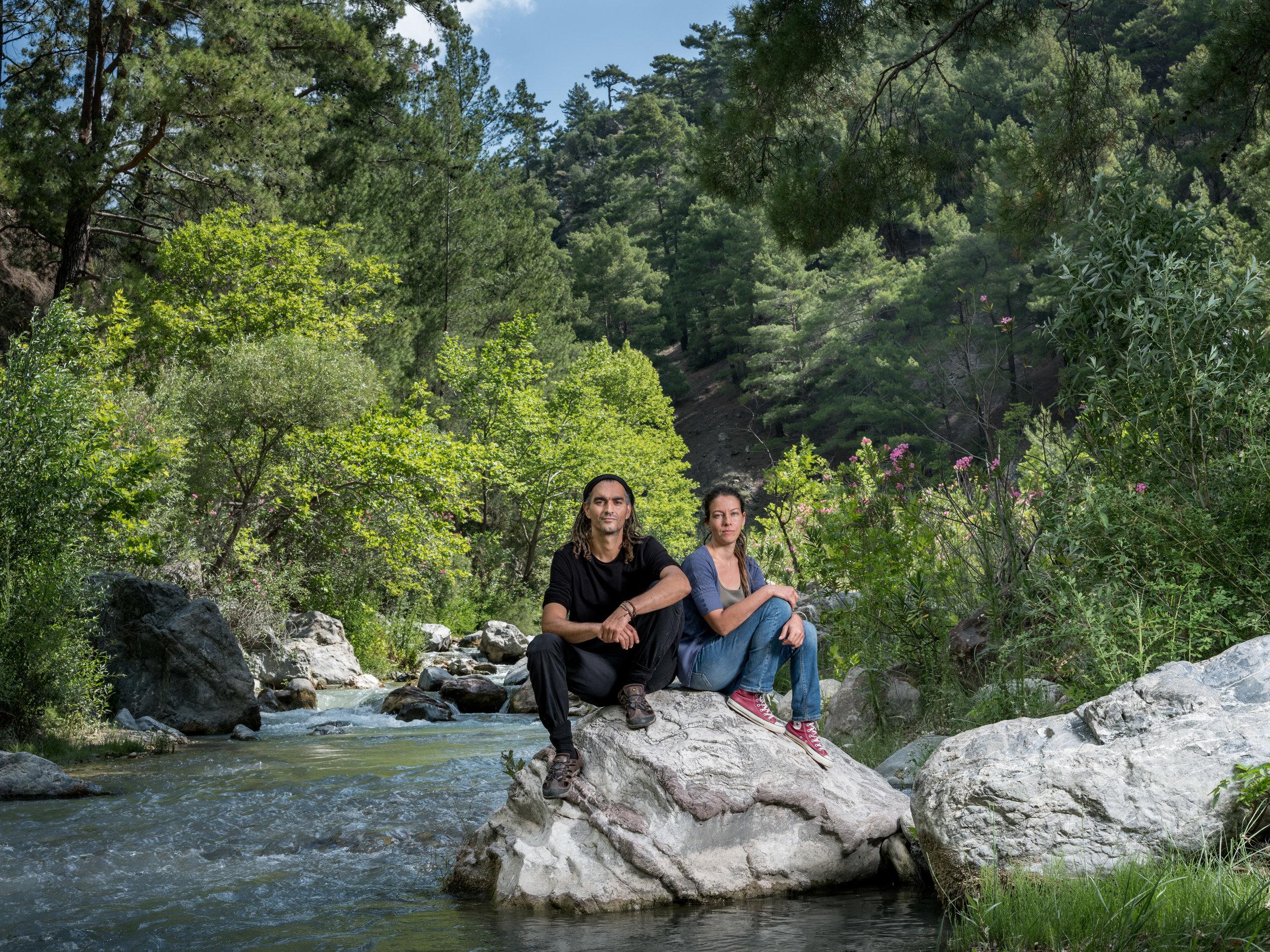 Birhan Erkutlu & Tugba Günal at the river that runs by their property