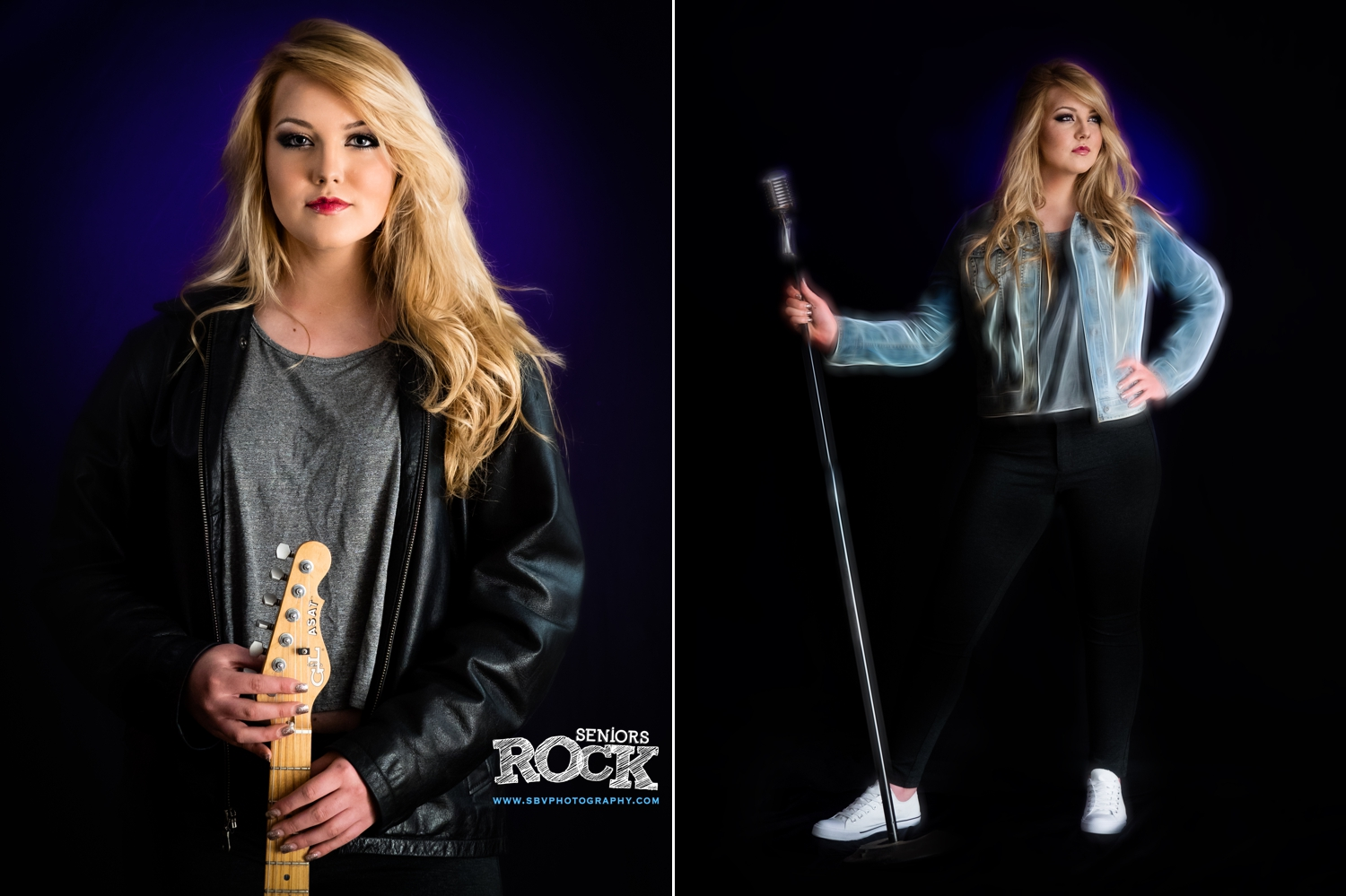 A Rock Star High School Senior session at my Crown Point photo studio.