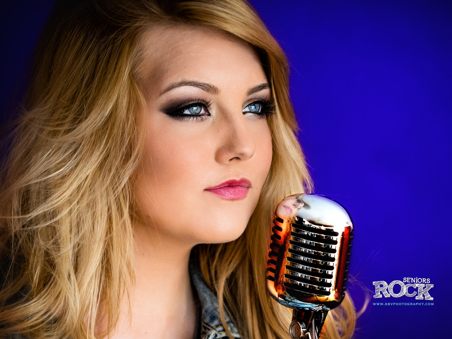 A high school senior takes to the microphone for her music themed senior picture session.