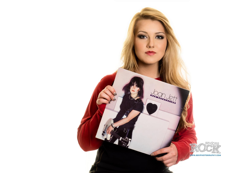 A high school senior goes retro with a Joan Jett vinyl album.
