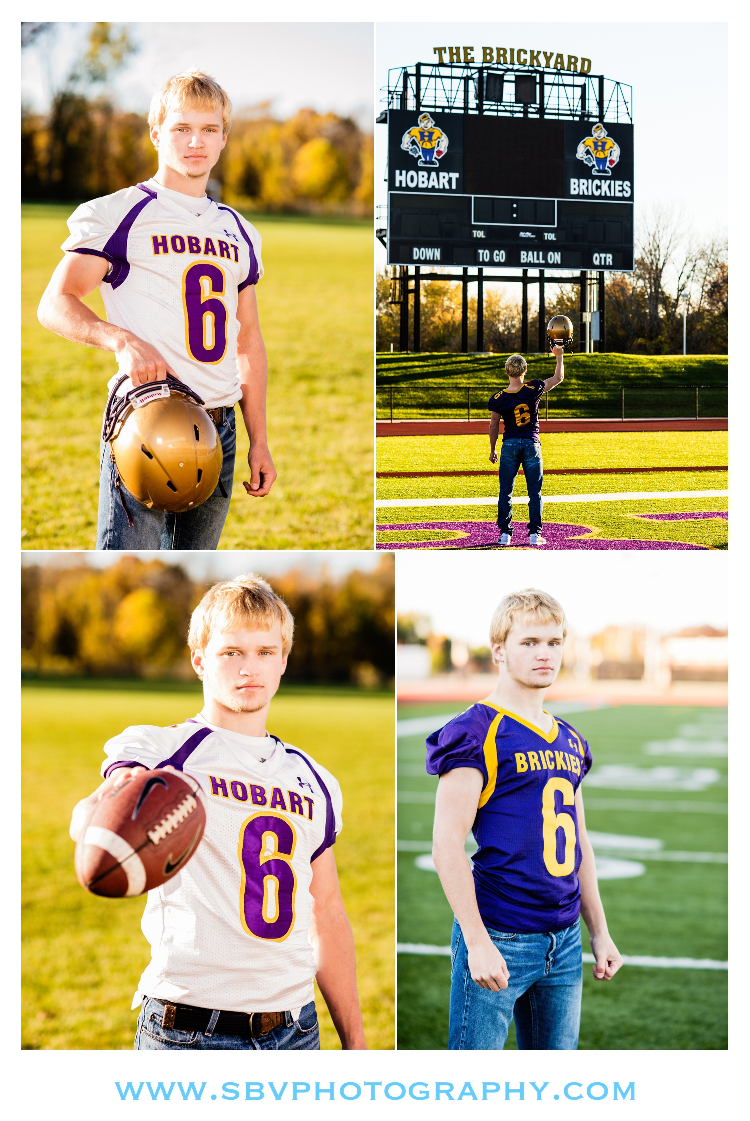 A Hobart Brickie high school senior on the field for senior pictures.