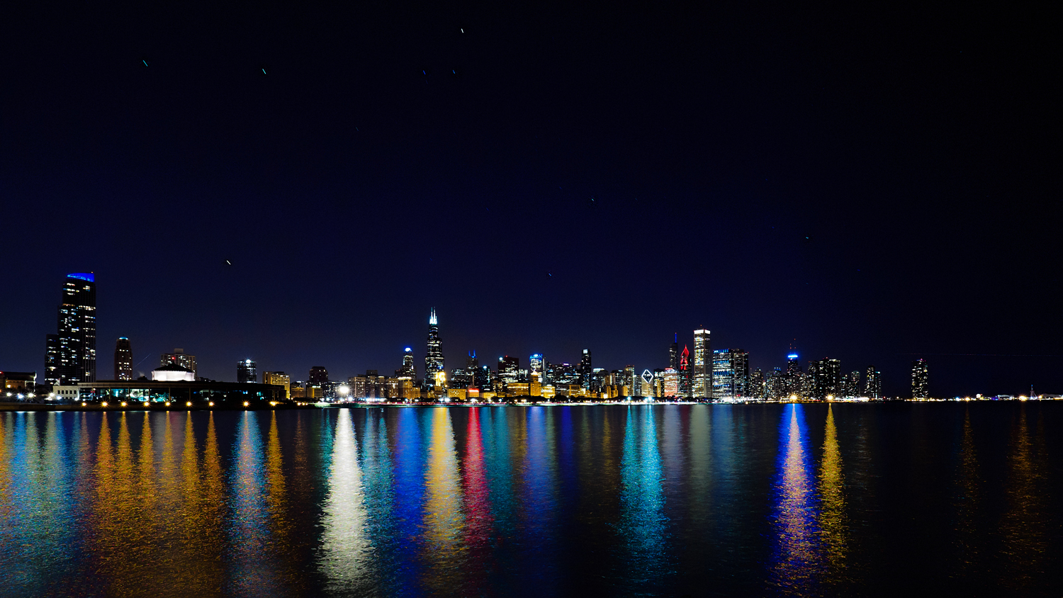 Chicago Skyline from Lake Michigan at night.
