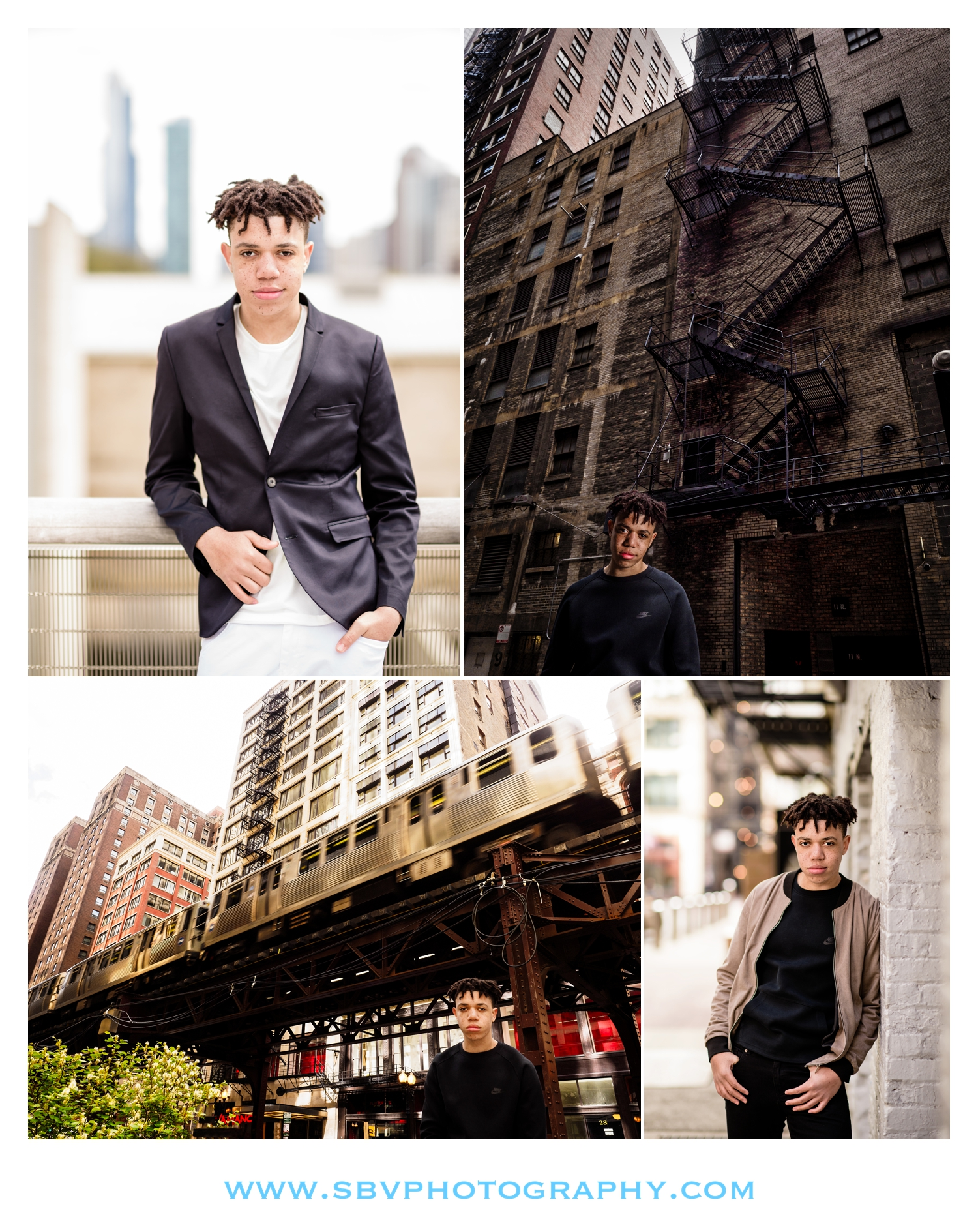 A high school senior poses around the city of Chicago for urban themed senior pictures.