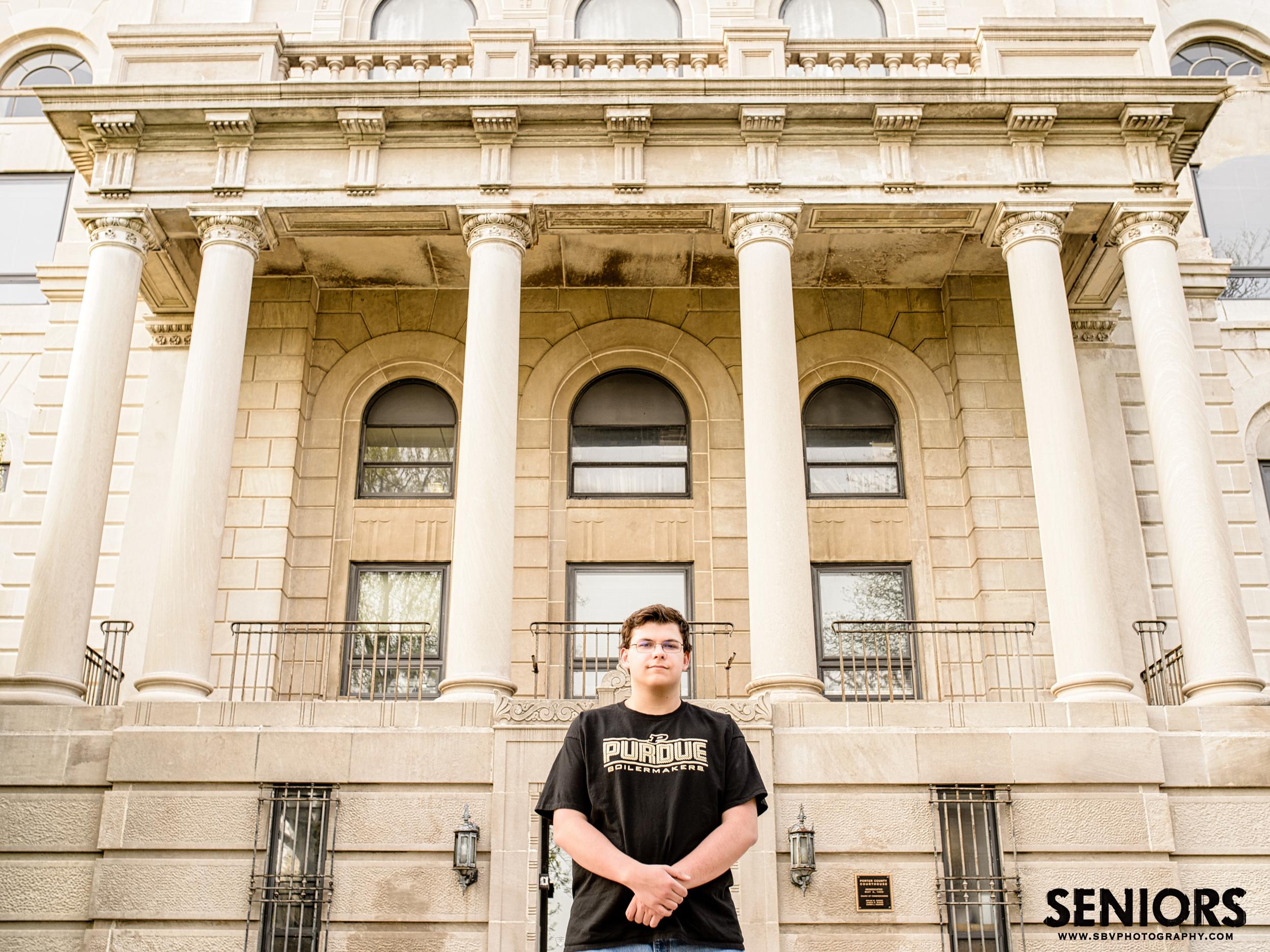 Senior photo at the Porter County Courthouse in Valparaiso, Indiana.