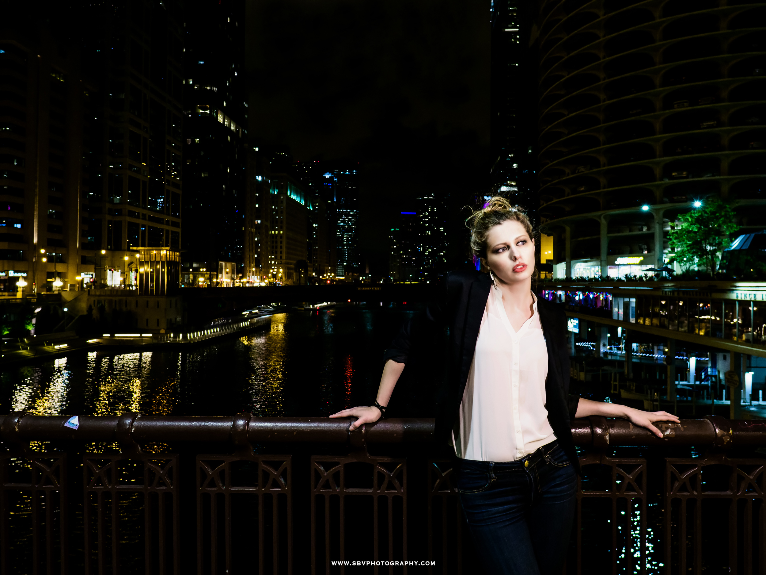 Night portrait overlooking the Chicago River.