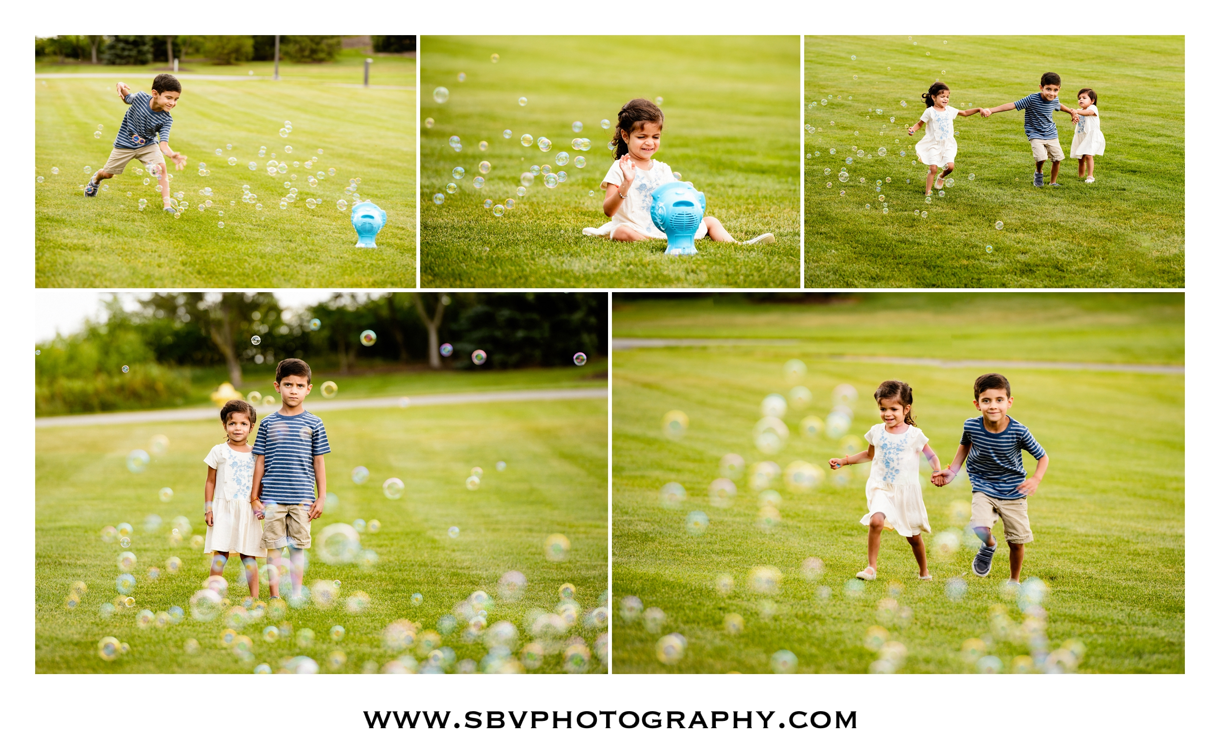 Lifestyle children's photos with a bubble machine in the park.